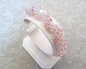Pink Crystal Rope Bracelet made with Swarovski, Prom Jewelry