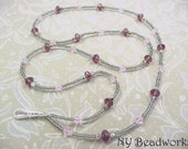 Beaded ID Lanyard, 2 Strand Necklace in Amethyst, Pink and Vitrail