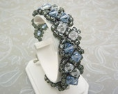 Light Sapphire, Clear, Chunky Crystal Bracelet woven with Swarovski Elements with Heart Toggle