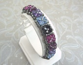Crystal Tennis Bracelet woven with Swarovski shades of purple and blue
