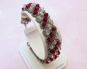Red and Pink Crystal Bracelet, Swarovski Siam and Rosaline, custom for prom, bridesmaids, sweet 16, mother of bride