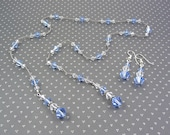 Bridesmaid Lariat Necklace and Earring Gift Set, shown in Light Sapphire Blue Swarovski, Wedding Jewelry, Bridal Party, Prom, Custom