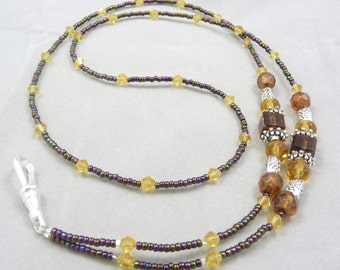 Work Badge ID Holder Lanyard Beaded Necklace in Brown and Gold, Teacher, Nurse Gift