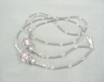 Lanyard Beaded Badge ID Holder Necklace in Pink and Gunmetal