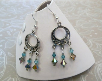 Crystal Chandelier Earrings made with Swarovski in your choice of color