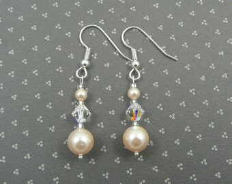 Pearl and Crystal AB Drop Earrings made with Swarovski