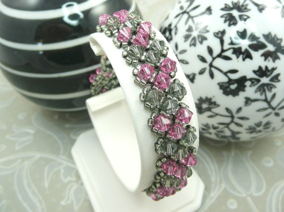 Pink and Gray Crystal Bracelet woven with Swarovski, Bridesmaid Jewelry, Wedding Bracelet, Custom Made To Order in your colors