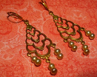 golden pearl chandelier earrings with gold filled leverback hooks.