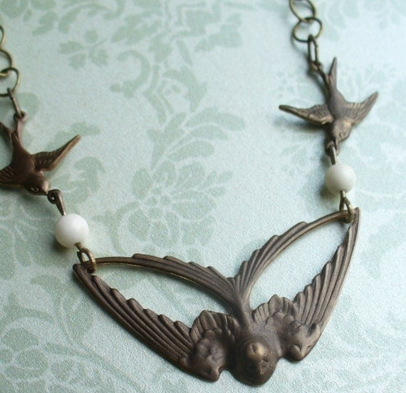 Flying swallow bird necklace with pale pink coral beads - brass Vintaj handmade.