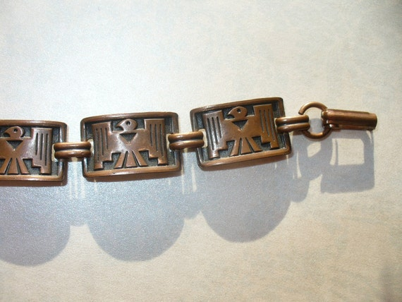 Vintage copper Thunderbird bracelet. Native American tourist item. 1970s