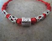 Red Thread Bracelet with Tibetan Silver Longevity Bead