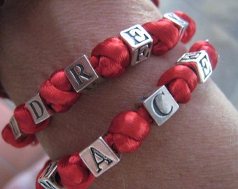 Red Thread Personalized Bracelet with Sterling Silver Beads