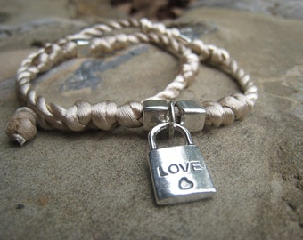 Knotted Satin Choker with Love Lock