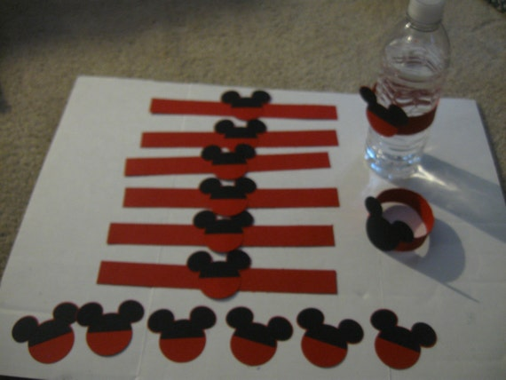 Mickey Mouse Bottled Water Wrap and Mickey ears for party favors or invitations