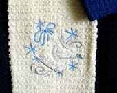 Embroidered hand towel and washcloth - cream with blue stripe and ice skates