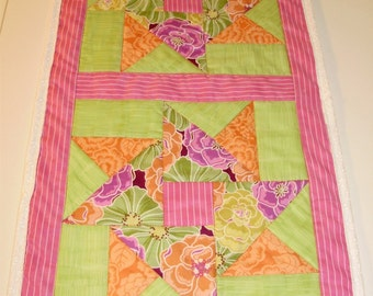 Quilted table runner - bright colors