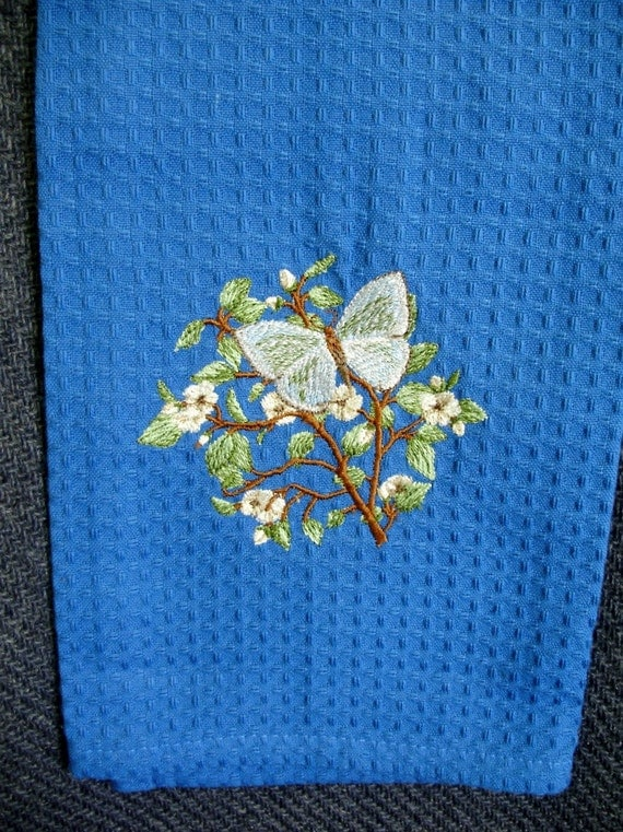 Embroidered hand towel - butterfly on a branch