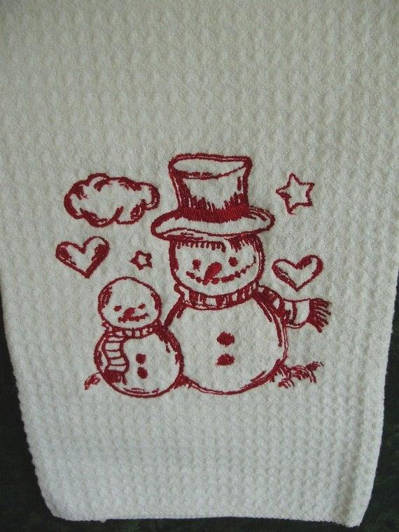 SALE - Embroidered hand towel - redwork snowmen