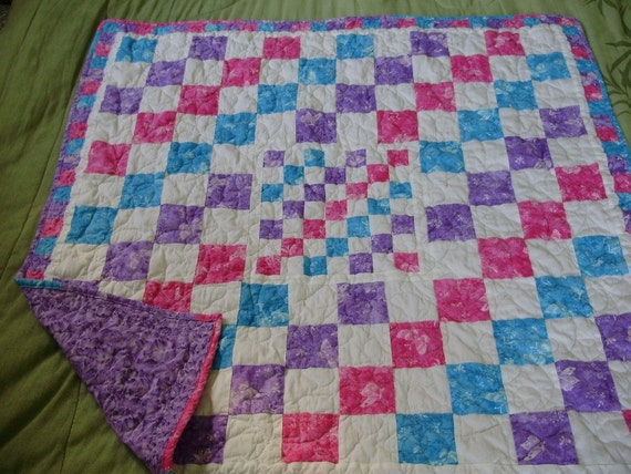 Girls bright butterfly quilt - pink, purple and blue