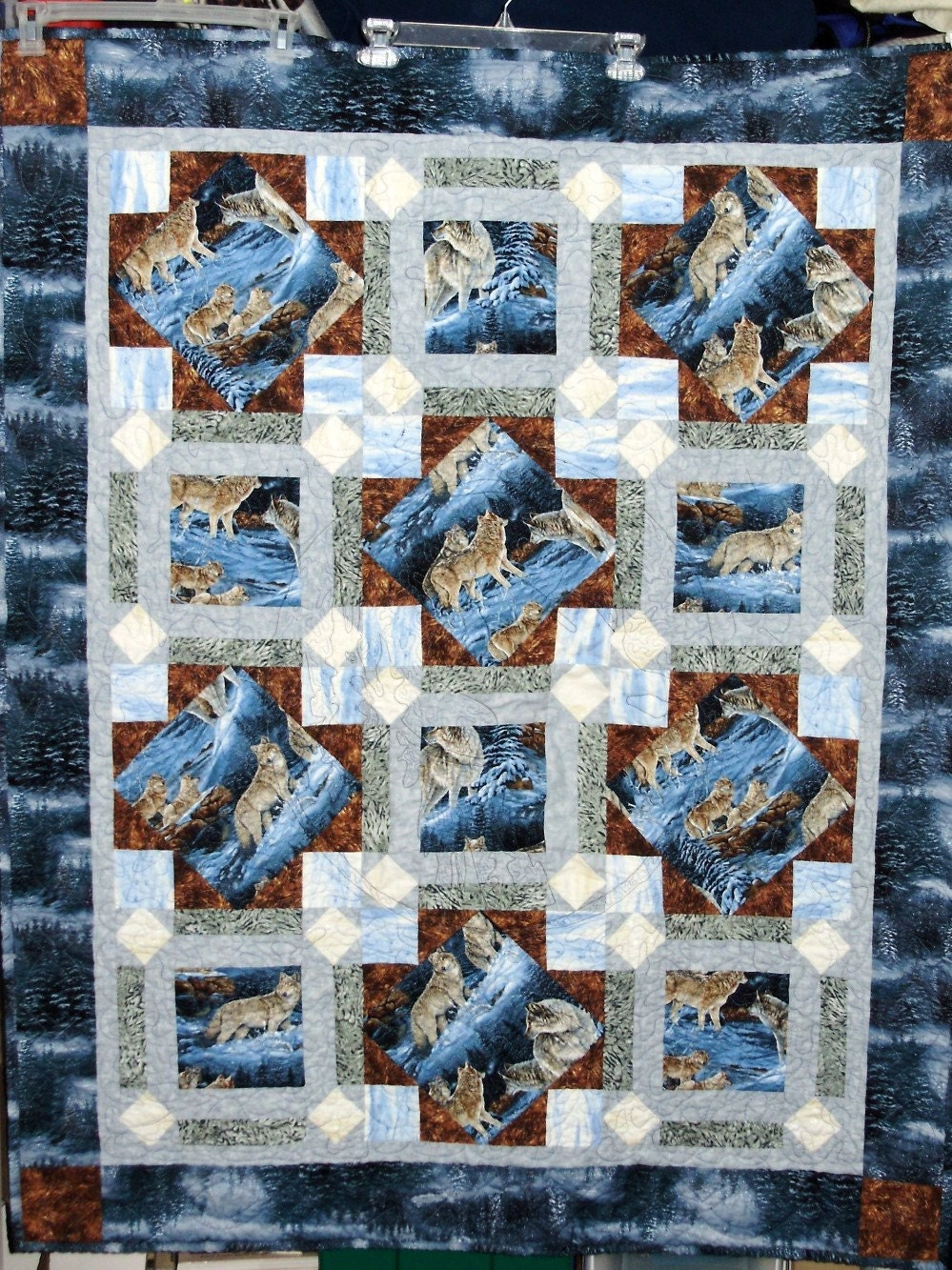 Wolf Quilt Blue Gray And Brown By Quiltsbydebbie On Etsy