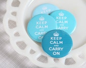 Decorative Keep Calm and Carry On Magnets in Aqua