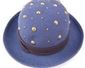 Vintage Royal Blue Studded Brim Hat 90's