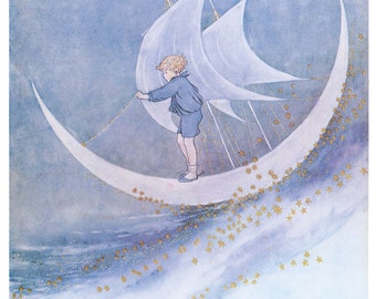 Wooden jigsaw puzzle. FAIRY BOY & MOONBOAT. Outhwaite. Vintage illustration. Wood, handcut, handcrafted, collectible. Bella Puzzles.