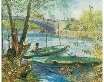 Hand-cut wooden jigsaw puzzle. MAN FISHING in BOAT. Van Gogh. Impressionist. Impressionism. Wood, collectible. Bella Puzzles.