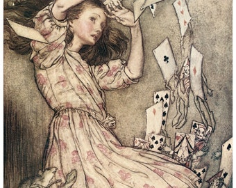 Hand-cut wooden jigsaw puzzle. ALICE and PACK of CARDS. Arthur Rackham. Fairytale gift. Wood, collectible. Bella Puzzles.