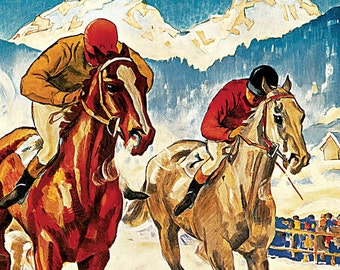 Hand-cut wooden jigsaw puzzle. HORSE RACE ILLUSTRATION. Hugo Laubi. Vintage advertisement. Wood, collectible. Bella Puzzles.