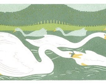 Wooden jigsaw puzzle. WHITE SWANS on POND.  Roubille. Art Deco. Wood, handcut, handcrafted, collectible. Bella Puzzles.
