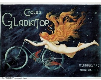 Hand-cut wooden jigsaw puzzle. GLADIATOR CYCLES. Art nouveau. Vintage advertisement. Wood, collectible. Bella Puzzles.