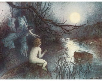 Wooden jigsaw puzzle. WATER BABY & MOONLIGHT. Warwick Goble. Vintage illustration. Wood, handcut, handcrafted, collectible. Bella Puzzles.