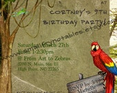 Rainforest Jungle Theme Party Personalized Printable Invitation by smallfrynotables
