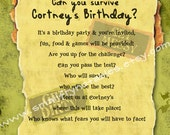 Survivor Personalized Theme Party Printable Invitation by smallfrynotables