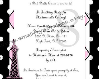 Personalized Pink Poodle in Paris Theme Birthday Party Printable Invitation