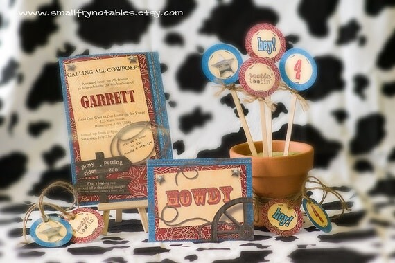 Cowboy Rodeo Party Custom Printable Set with Invitation, Tags, Toppers, and Thank You Cards