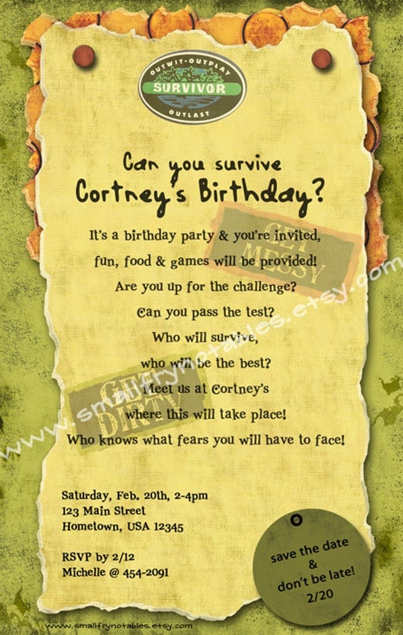 Survivor Personalized Theme Party Printable Invitation By