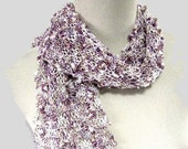 Sale Lavender and Creme Hand Knit Scarf