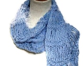 Soft Blue Splendor Hand Knit Scarf - Great for Spring