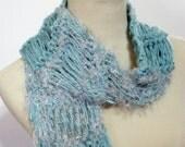 Hand Knit Scarf, Seafoam Green, Knit Scarf, Aqua Scarf, Womens Scarf, Fashion Scarf, Fiber Art,  Knitted Scarf,