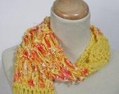 Hand Knit Scarf - Lemon Orange Delight