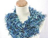 Deep Ocean Blue Hand Knit Scarf/Boa Extra Long - On Sale