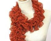 Tangerine Hand Knit Ruffled Scarf - Orange