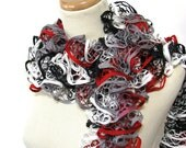 Valentines Day, Ruffle Scarf, Knit Scarf, Hand Knit Scarf, Red And Black White Scarf, Spring Scarf, Mother's DayWomens Scarf, Fiber Art