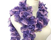 Purple and Pink Hand Knit Ruffled Scarf