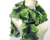 Green Hand Knit Ruffled Scarf
