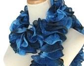 Blue Hand Knit Ruffled Scarf