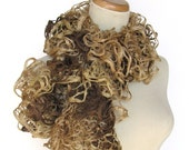 Hand Knit Ruffled Scarf - Brown
