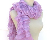 Hand Knit Ruffled Scarf - Lilac Purple